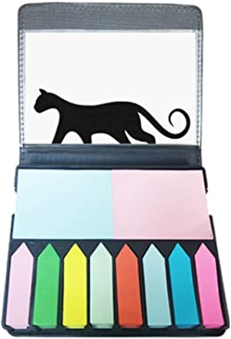 Charming Black Cat Lover Animal Art Silhouette Self Stick Note Color Page Marker Box