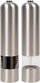 Jean-Patrique Illuminated Electric Stainless Steel Salt/Pepper Grinder| Battery Operated | Stunning Design Stainless Steel