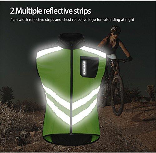 WOSAWE Hombres Ropa Ciclismo, Transpirable Chaqueta de Ciclismo Cortavientos Alta Visivilidad Chaleco Reflectante de MTB (BL208 Chaleco Verde XL)