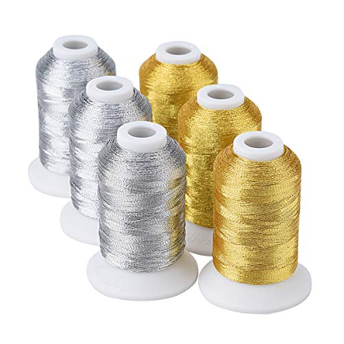 Simthread 6 Spools Metallic Embroidery Machine Thread (3 Gold+ 3 Silver Colors) 500M(550Y) for Embroidery and Decorative Sewing