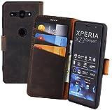 Suncase Book-Style kompatibel für Sony Xperia XZ2 Compact Hülle (Slim-Fit) Leder Tasche Handytasche Schutzhülle Hülle (mit Standfunktion & Kartenfach - Bruchfester Innenschale) in antik braun