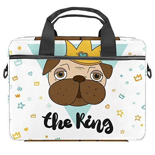 Laptop Sleeve Business Briefcase Messenger Bag with Detachable Shoulder Strap King Pugs