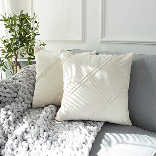 HIARUO Velvet Cream White Throw Pillow Covers,18 x 18 inches Decorative Cushion Covers Set of 2 Accent Soft Square Solid Pillowcase for Sofa/Bed/Couch/Chair