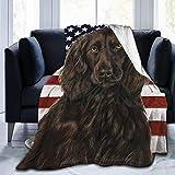 AEMAPE Cocker Spaniel Perro Patriótico Bandera Americana Hogar Franela Fleece Microfibra Manta Ligera y Acogedora Sofá Cama Súper Suave y Cálida Felpa 60 'x50'