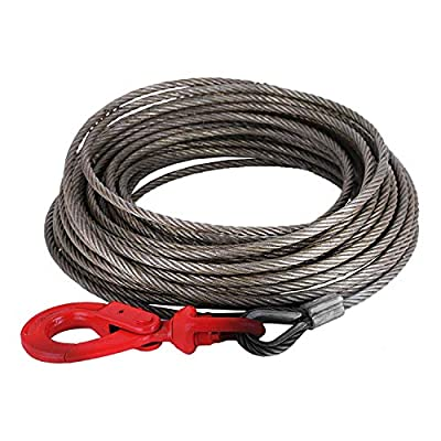 Mophorn Winch Cable 3/8Inchx 75Ft Replacement Wire Rope 4400LBS Fiber Core Self Locking Swivel Hook
