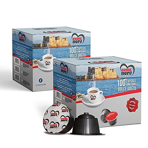 Cuore Nero Caffè - 200 Capsule Compatibili Nescafè Dolce Gusto CAFFÈ Gusto Intenso e Cremoso