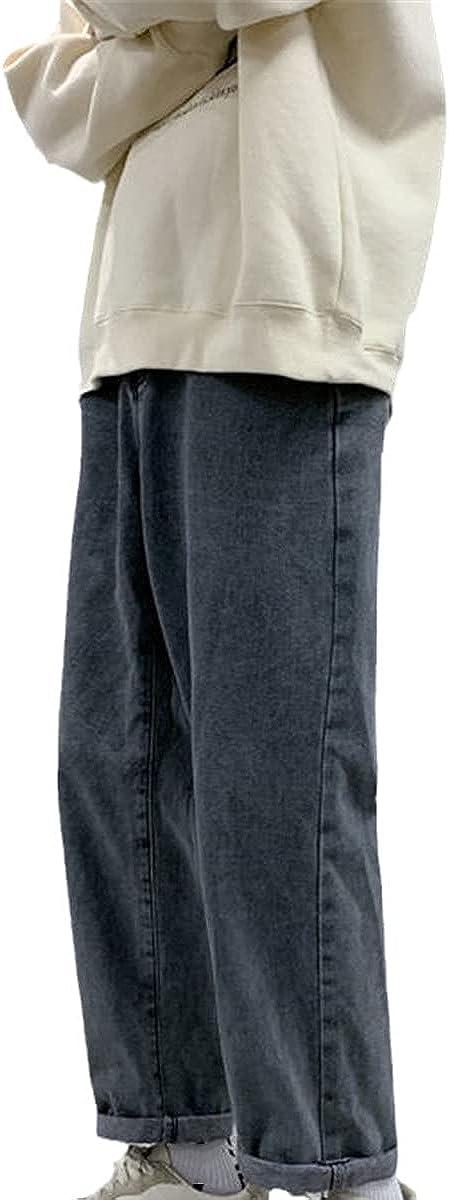 CACLSL Korean Solid Color Men's Straight-Leg Jeans Harajuku Street Casual Loose Trousers