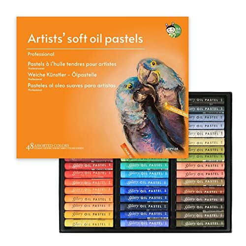 HASHI Non Toxic Soft Oil Pastels for Artist and Professional, Set of 48 Assorted Colors