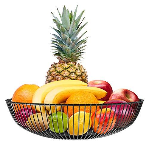 Frutero Cesta de Fruta de Metal Cuencos de Fruta de Alambre Negro Cestas de Fruta Tejidas con Hierro para cocinas Mesa de Comedor