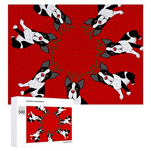 500 PCS Piece Jigsaw Puzzle - Boston Terrier Reindeer Christmas - Large Finished Size Challenging Puzzles Game Home Decor
