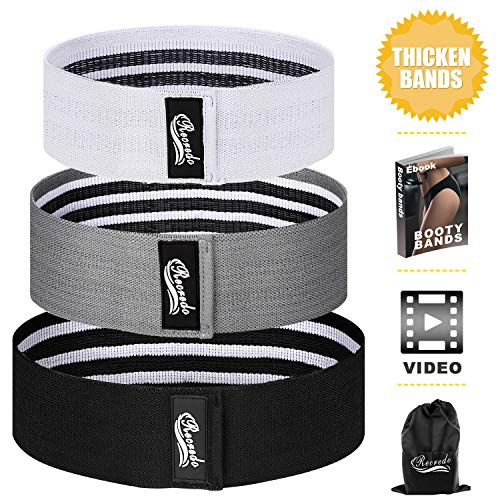 Recredo Booty Bands, Non Slip Resistance Bands for Legs and Butt, Workout Bands Exercise Bands Glute Bands for Women, 3 Pack - Training Ebook and Video Included (White, Gray, Black)