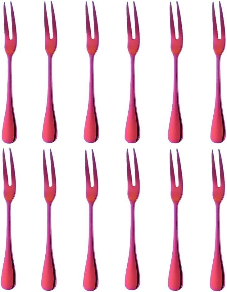 Fruit Fork 12PCS 5.7inch Orange Red 5 ☆ popular 304 Mi SEAL limited product Steel 8 Stainless 18
