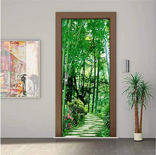 SUDIKE Pegatinas de puerta impermeables Sala de estar Dormitorio Puerta Papel pintado autoadhesivo 3D Bambú Bosque Foto Wallpaper Sticker