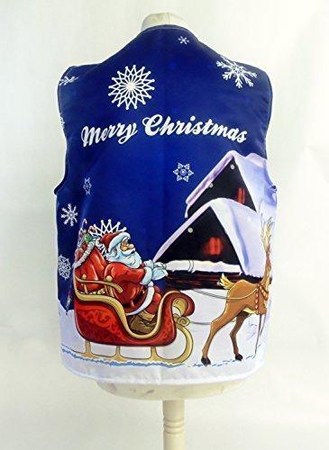 L&S PRINTS FOAM DESIGNS Santas Schlitten blau Design 1Weihnachten Design Weste Fun & Fancy für alle Anlässe Festival Parteien erhältlich S, M, L, XL, Größen erhältlich (Large 44–46–48)