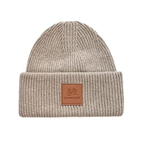 Somaler Winter Beanie Hats for Women Warm Wool Knit Cuffed Beanies Soft Skull SKi Cap Camel