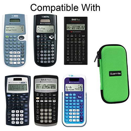 Guerrilla Hard Travel Case for TI-30X llS, TI BA ll Plus, TI-34 Multi View, TI-36X Pro, TI BA ll Plus Professional, and TI-30XS multi view Calculators, Green Photo #4