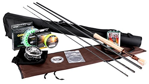 Goture フライフィッシングロッドセット コンプリートセット フライロッド カーボンロッド #5 4ピース アルミ製 リール 渓流 管理釣り場 超軽量 初心者 入門者 釣り道具 ユニーク収納バッグ付き
