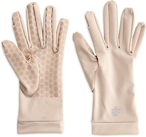 Coolibar UPF 50+ Unisex Sawyer UV Sun Gloves - Sun Protective (Medium- Beige)