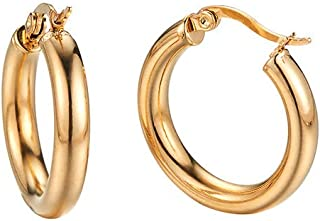 Caprice Jewelry - Yellow Gold Tone 4mm High Polished Small Round Hoop Earrings