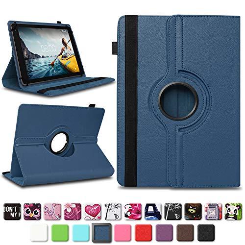 NAUC Medion Lifetab E10604 E10412 E10511 E10513 E10501 Tablet Tasche Hülle Schutzhülle Tablettasche mit Standfunktion 360° drehbar hochwertige Verarbeitung Universal Case Cover, Farben:Blau