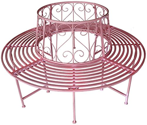 GeKi Trend Baumbank antik pink rosa Metall Schmiedeeisen 360° rund Ø 161 cm Rundbank Baum massiv Parkbank Gartenbank stabil 23 kg