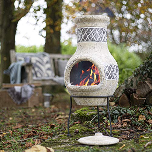 Oxford Barbecues Radley Cream With Grey Detail Clay Chiminea Patio Heater