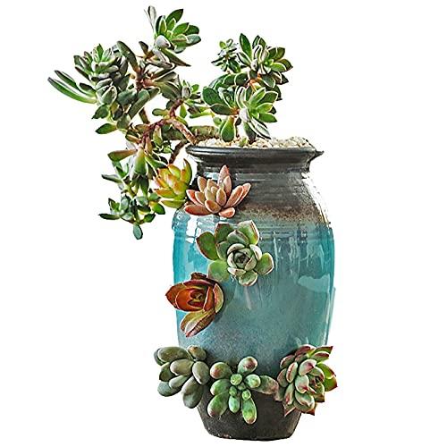 TENT Ceramic Succulent Cactus Vase Garden Terracotta Flower Pots Sill Garden Stackable Decorative Containers Automatic Water Penetration Office Bedroom Bedside Indoor and Outdoor Window