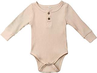 Ropa de Bebe niña niño Mameluco Mangas Largas de Verano Recién Nacido 0-24 Meses Trajes de Mono Color Liso para bebés Body con Cuello Redondo Verano Pijamas Bebe niña Original Body Bebe