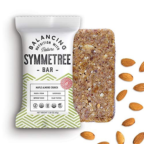 SYMMETREE BAR (8 Pack) Paleo Friendly Protein Bar - Organic Snack Bar - Non GMO Plant Based Energy Bar - Gluten, Soy & Dairy Free Protein Bar (Maple Almond Crunch)
