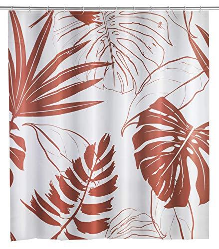 WENKO Duschvorhang Brasil - wasserdicht, pflegeleicht, mit 12 Duschvorhangringen, 200 x 180 cm, coral
