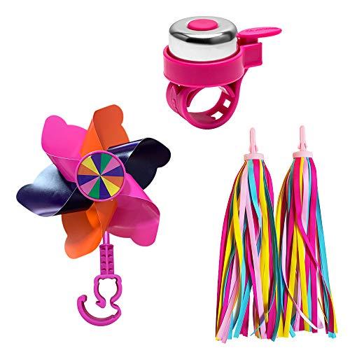 HMM Kinder-Fahrradklingel für Mädchenfahrrad, Kleinkindfahrrad, Roller, mit 2 Lenkerschlangen und 1 Windrad