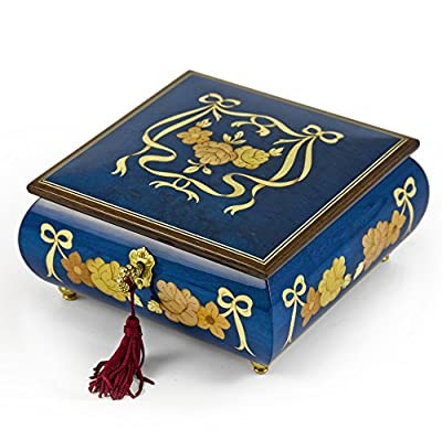 Handcrafted Radiant Blue W. Roses and Ribbons Musical Jewelry Box Limited Sale, Few Left - Over 400 Song Choices