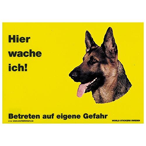 Ici je me réveille Jaune Env. 28 x 20 cm avec autocollants wetterfeste Plaque en plastique Env., Dt. Schäferhund - Kopf