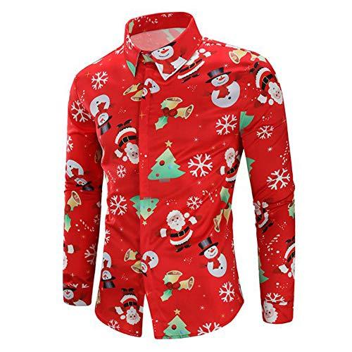 BaZhaHei-Navidad Hombres Casual Copos de Nieve Papá Noel Estampado Camisa de Navidad Top Blusa Camiseta de Papá...