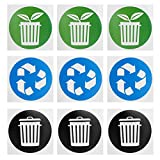 Omabeta Etiqueta engomada de la Basura Etiqueta engomada del Cubo de Basura Etiqueta de Reciclaje Etiqueta de la Basura 60pcs / Set para latas de Aluminio