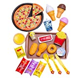Aional Pretend Play Kitchen Dish Set, 27 Piece Kids Kitchen Toys Accessori Pizza Cone Play Set for 2 3 4 5 6 Years Old Toddlers Girls Boys