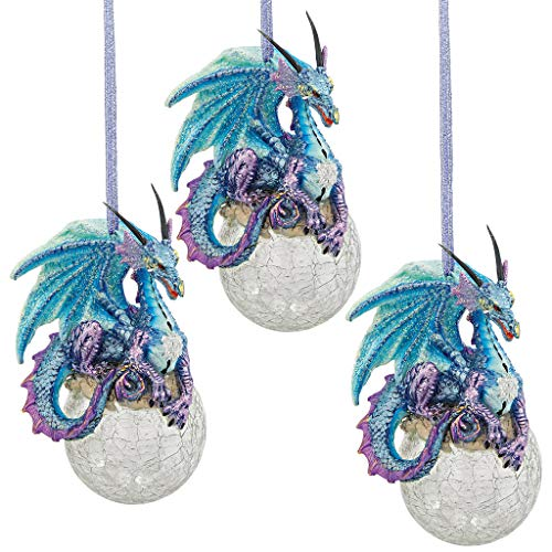 Design Toscano QS9292913 Christmas Tree Ornaments - Frost the Gothic Dragon Holiday Ornament: Set of Three - Snowflake Dragon Ball Ornament,Multicolored,Set of 3