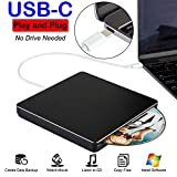 NOLYTH USB C Superdrive - Unidad Externa de DVD y CD Compatible con MacBook Air/Pro/Laptop/PC/Windows 10 Negro Negro
