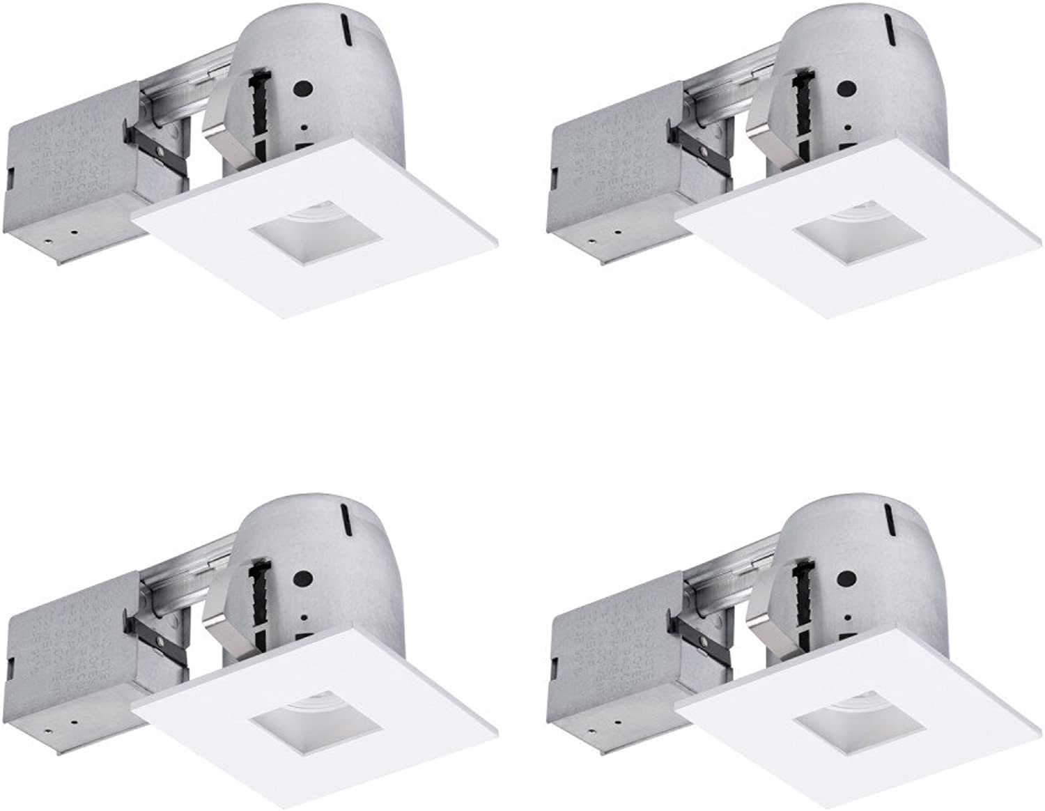 Globe Electric 90949 Recessed Lighting, 4 Pack, White Square Baffle