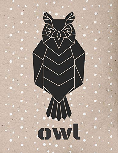 Owl: Large Origami Vintage Paper Composition Notebook college ruled 8,5 x 11, Geometrical Animal Head Boho Tribal Journal for kids, teens and adults