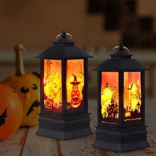 XIUWOUG 2pcs Halloween Deko Kerzenlaterne 20cm Hohe,LED Kürbis Laterne Für Indoor Outdoor Gärten Baum Halloween Bar Weihnachtsfeiertag Party (ohne Batterie),Halloween Dekoration