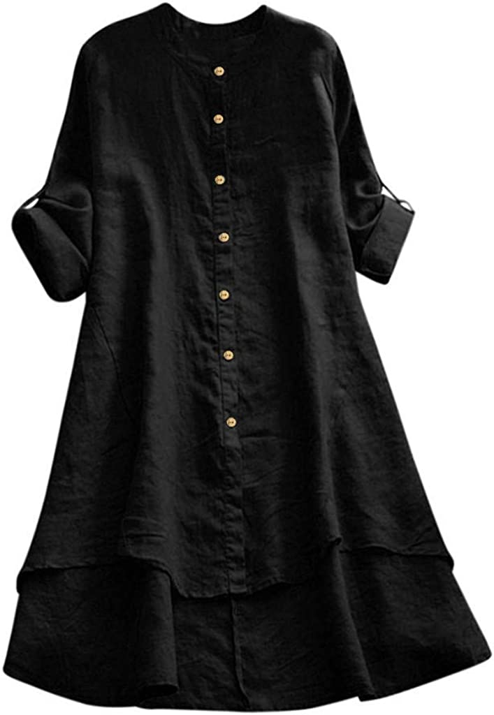 Women's Linen Loose Summer/Fall Casual Midi Swing Dresses with Button Down