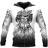 Sudaderas con Capucha de la Novedad de los Hombres Vikingos, Jersey de Tatuaje de Odin Ravens con Estampado 3D, Sudadera pagana con Bolsillo,Zipper Hoodie,4XL