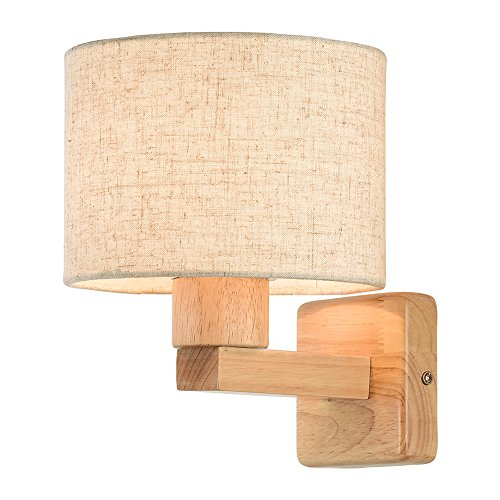 FEIFEImop Lámparas de pared Madera LED lámpara de pared nórdica La simplicidad de tela Pantalla pared dormitorio de la lámpara de noche Estudio Sala de estar Escaleras pared del accesorio ligero