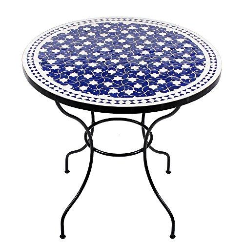 albena Marokko Galerie 15-100 Maar Marokkanischer Mosaiktisch 80cm rund (Maar: blau/Weiss)