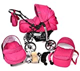 Kamil, Classic 3-in-1 Travel System with 4 STATIC (FIXED) WHEELS incl. Baby Pram, Car Seat, Pushchair & Accessories (3-in-1 Travel System, Pink & Polka Dots)