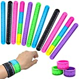 FROG SAC 12 Ruler Slap Bracelets for Kids - Silicone Ruler Snap Bracelets - Stocking Stuffers for Kids, Party Favors, Goodie Bag Fillers,Treasure Box Prizes, Teacher Rewards for Students, Bulk