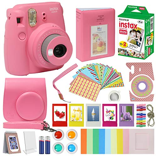 Instax Mini 9 Camera Flamingo Pink Accessory kit for Instax Mini 9 Camera Includes Instant Camera Instax Film 20 Pack Instax Case with Strap Instax Album + Frames Lenses + More …