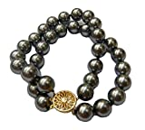 Schmuckwilli Muschelkernperlen Perlenarmband Perlen Armband 2-reihig grau Hochwertige 20cm mb2022-20 (12mm)