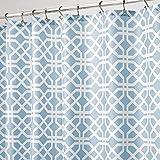 mDesign Duschvorhang – wasserabweisender Spritzschutz mit attraktivem Blattmuster – leicht zu pflegener Badewannenvorhang – Hellblau/Weiß